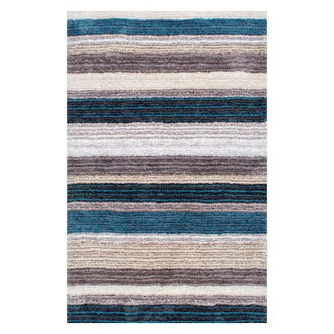 Striped Shaggy Woven Rug - nuLoom - image 1 of 2