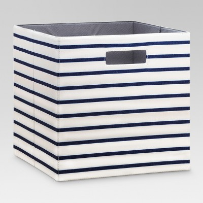Fabric Cube Storage Bin 13  - White Navy Stripe - Threshold™