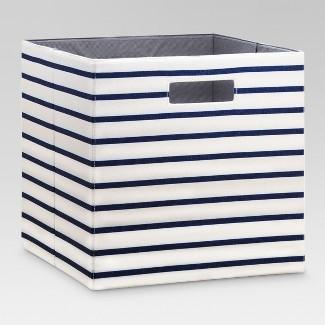 "13"" Fabric Cube Storage Bin White/Navy Stripe - Threshold™"