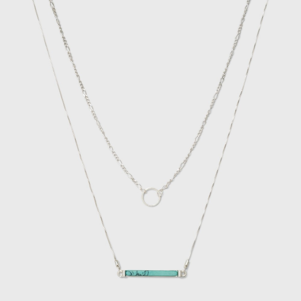 Semi Precious Short Delicate Layered Necklace - Universal Thread Turquoise/Silver, Turquiose/Silver