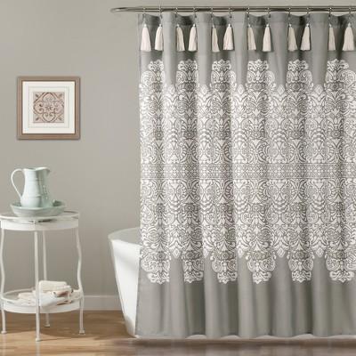 Boho Medallion Shower Curtain Gray - Lush Décor