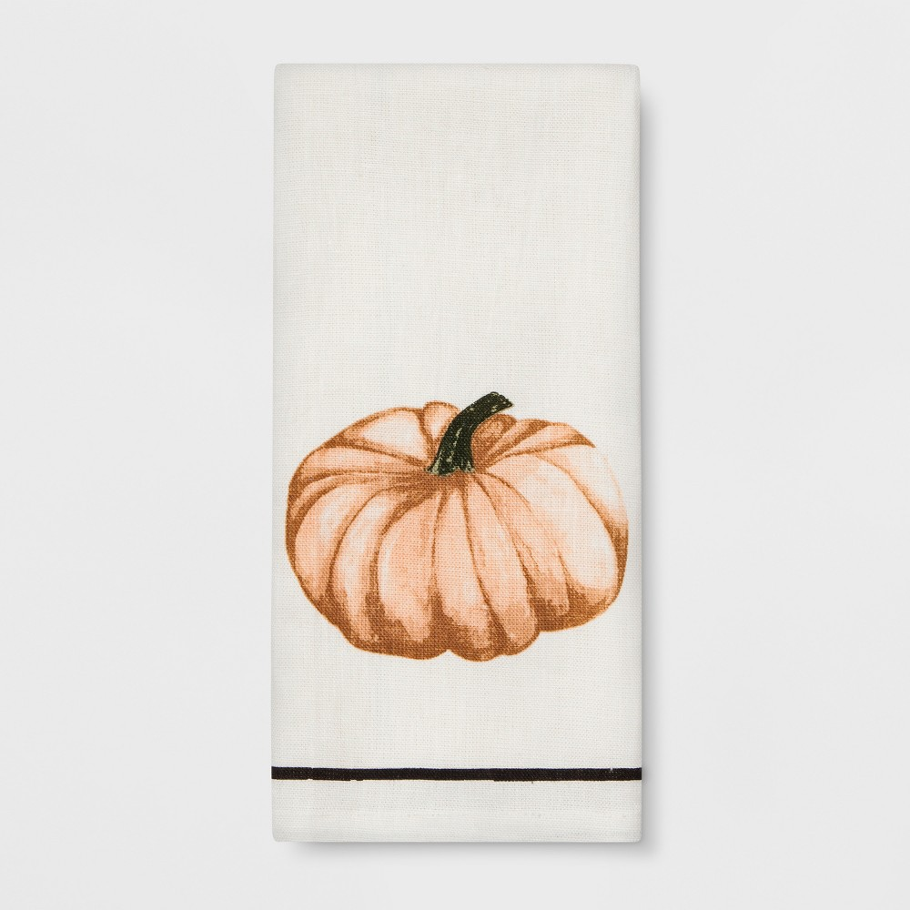 Kitchen Towel Pumpkin - White - Smith & Hawken Spice up your kitchen in sweet style with this Pumpkin Kitchen Towel from Smith and Hawken. Made from soft, absorbent, 100 percent linen fabric to clean up everyday spills and dry hands and dishes, this white kitchen towel features a printed pumpkin on the front for an autumn-y look. Give your kitchen decor an inviting touch with this linen kitchen towel.