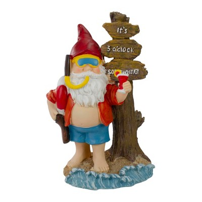 """Northlight 10.5"""" Red and Blue Beach Gnome Outdoor Garden Statue"""