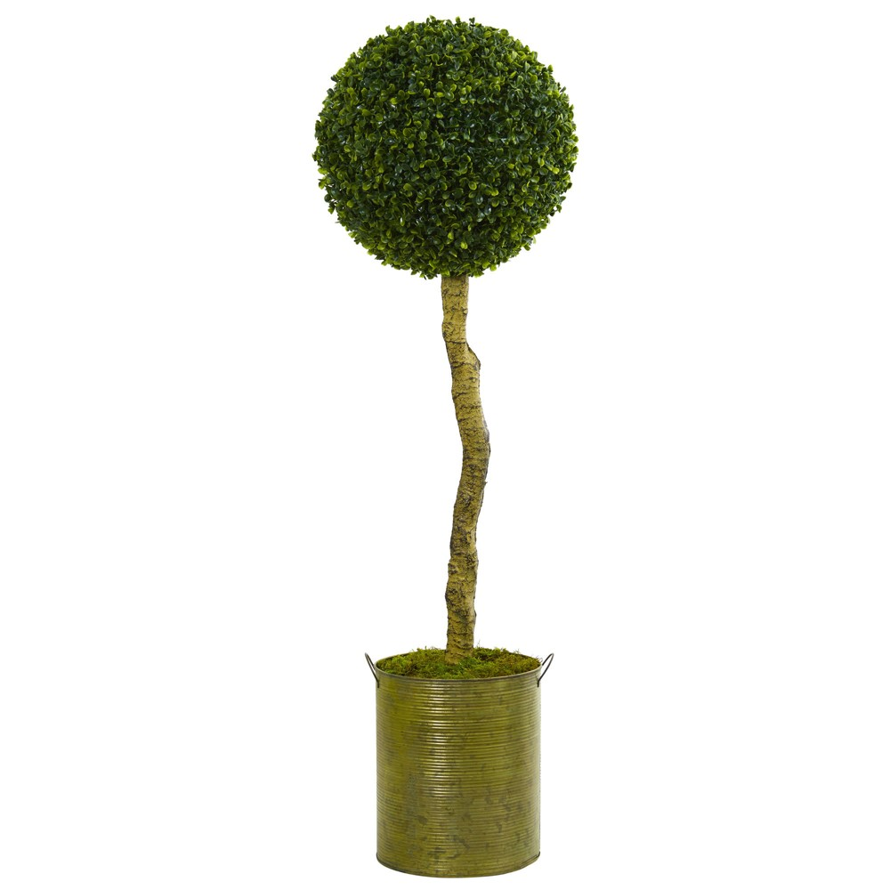 Image of 4ft Boxwood Ball Topiary Artificial Tree Green Tin Planter - Nearly Natural