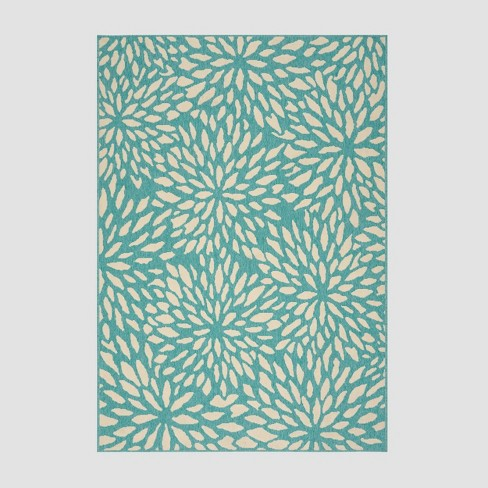 5' x 8' Simone Floral Outdoor Rug Blue/Ivory - Christopher Knight Home - image 1 of 4