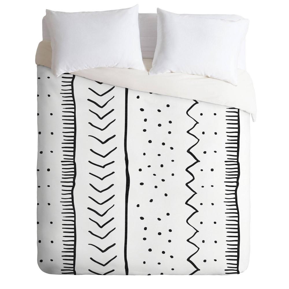 Queen Full Becky Bailey Moroccan Stripe Comforter Set Black White Deny Designs