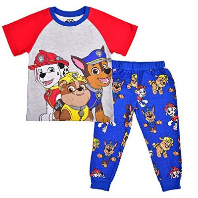 Nickelodeon Boy's 2-Piece Paw Patrol Graphic Raglan Shirt and Jogger Pant Set with Chase, Marshall and Rubble Character Prints for Toddlers