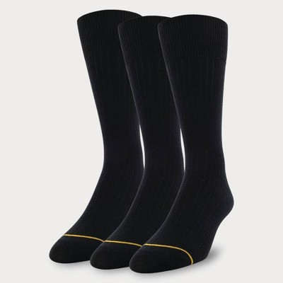 Signature Gold by GOLDTOE Men's Solids Bamboo Rayon Relaxed Top Crew Socks 3pk - 6-12.5