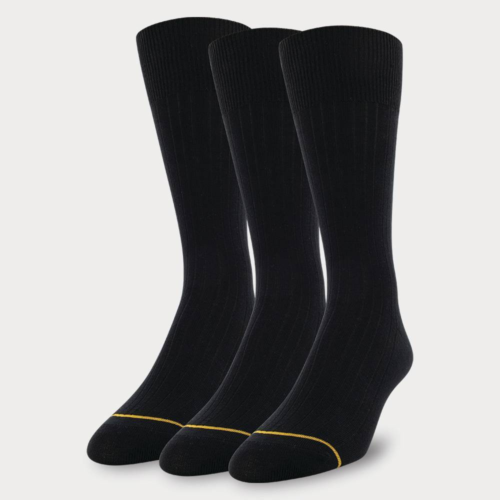 Image of Signature Gold by GOLDTOE Men's Solids Bamboo Rayon Relaxed Top Crew Socks 3pk - 6-12, Men's, Size: Small, MultiColored