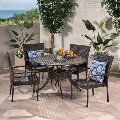Littleton 5pc Wicker And Cast Aluminum Dining Set   Bronze/Brown    Christopher Knight Home