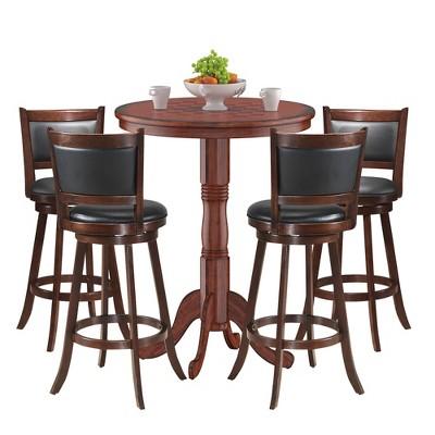 Costway 5pcs Pub Table Set 30'' Round Bar Height Table & 4pcs Swivel Bar Stools