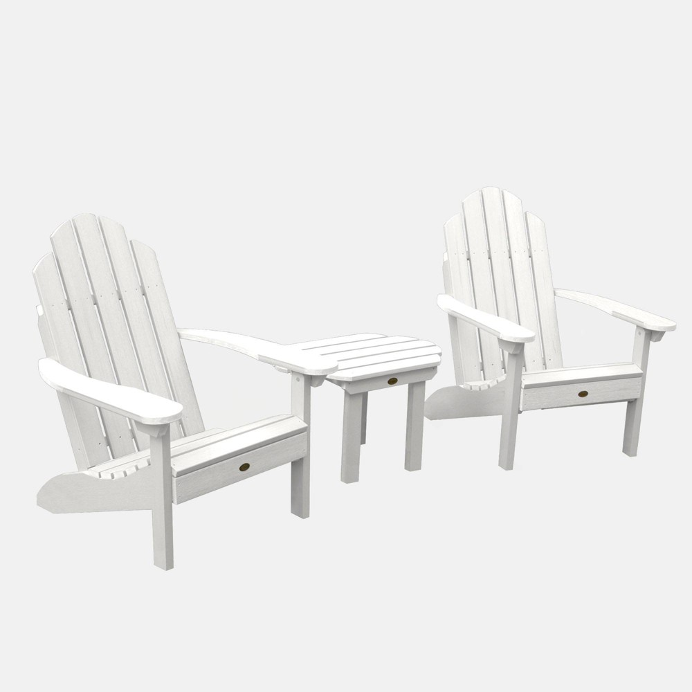 Image of 3pc Classic Westport Adirondack Chair Patio Set White - highwood