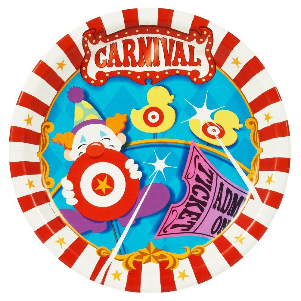 16ct Carnival Games - Dinner Plate, Multicolored