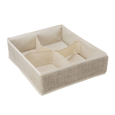Simplify 4 Compartment Drawer Organizer Faux Jute