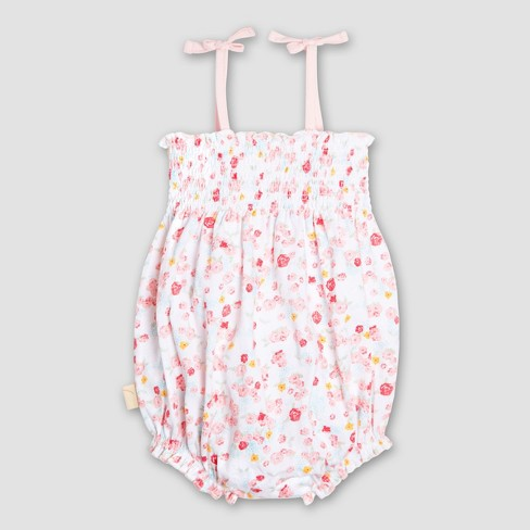 4daf1e318b9d Burt s Bees Baby Girls  Organic Cotton Ditsy Floral Bubble Romper - Pink    Target