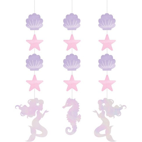 3ct Mermaid Print Iridescent Party Hangers - image 1 of 2