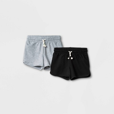 Girls' 2pk Knit Pull-On Shorts - Cat & Jack™ Heather Gray/Black