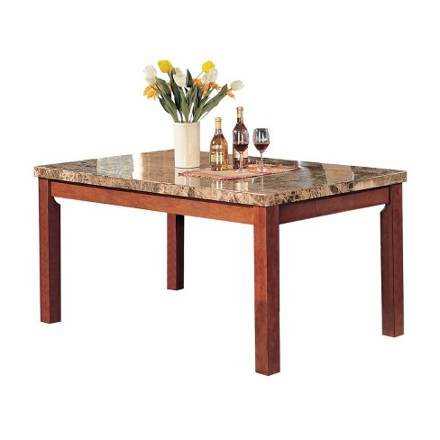 Bologna Marble Top Dining Table Cherry Brown - Acme - image 1 of 1