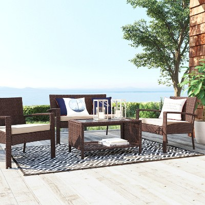 4pc All-Weather Wicker Patio Deep Seating Set - Brown - Threshold™