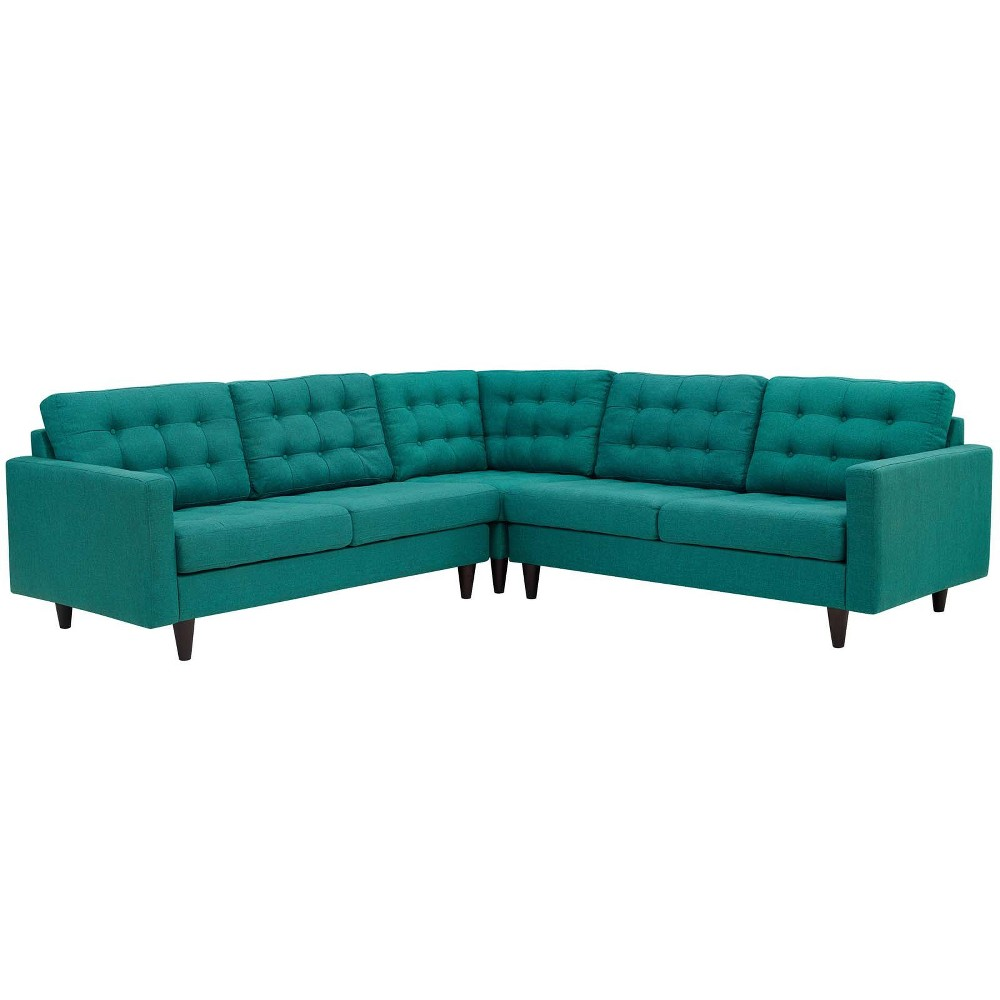 Empress 3pc Upholstered Fabric Sectional Sofa Set Teal (Blue) - Modway