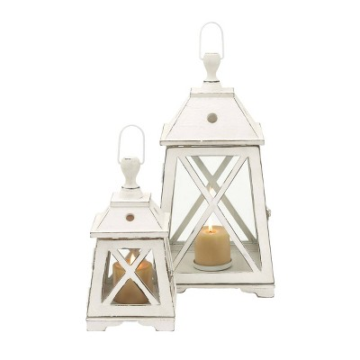 Set of 2 Trapezoid Wood/Glass Candle Holders White - Olivia & May