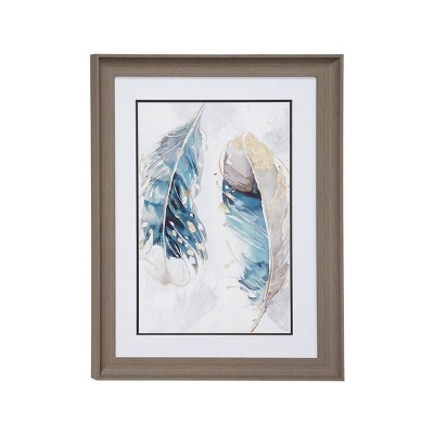 "17.5"" x 23.5"" Eclectic Decor Watercolor Feathers Print in Rectangular Brown Wood Frame - Olivia & May"