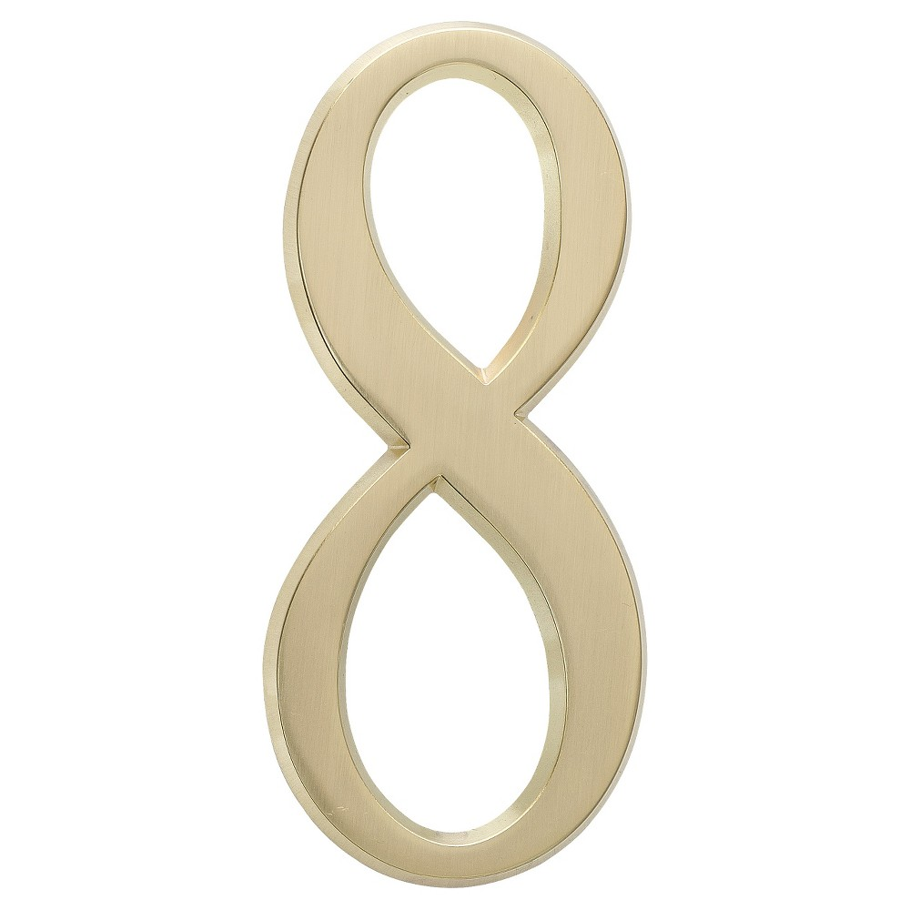 "Image of ""4.75"""" House Number 8 - Satin Brass - Whitehall Products"""