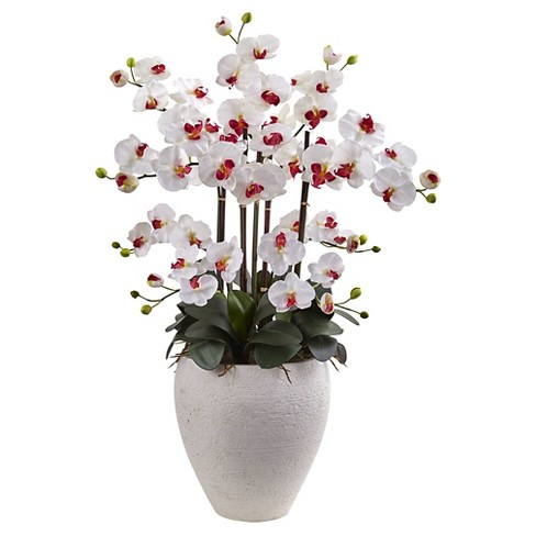 Phalaenopsis Orchid Silk Arrangement with White Planter - Nearly Natural - image 1 of 1