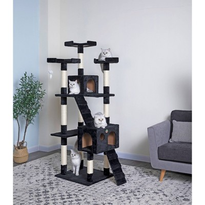 """Go Pet Club Classic Cat Tree Furniture with Sisal Scratching Posts - Black - 72"""""""