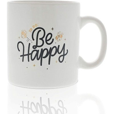 Okuna Outpost White Large Ceramic Coffee Mug Tea Cup, To Do: Be Happy (16 oz, 3.7 x 4.1 in)