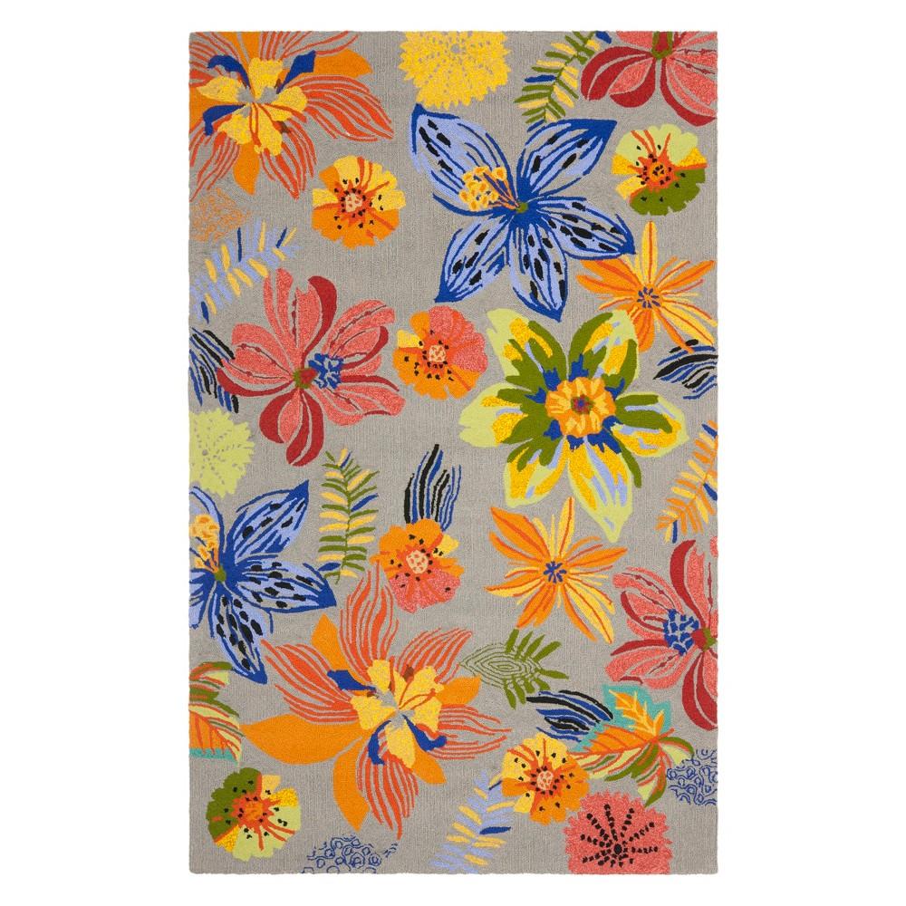 5X8 Floral Area Rug Gray/Orange - Safavieh Promos