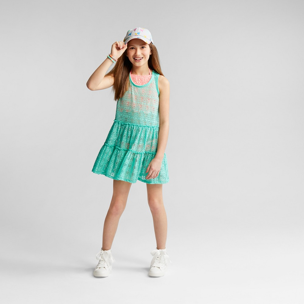 Girls' Crochet Cover Up Dress - Cat & Jack Blue L
