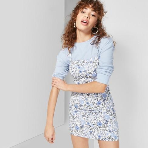ebc402f6edf Women s Floral Print Strappy Twill Dress - Wild Fable™ Cream   Target