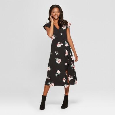 Women's Floral Print Short Sleeve Wrap Ruffle Midi Dress - Xhilaration™ Black XS