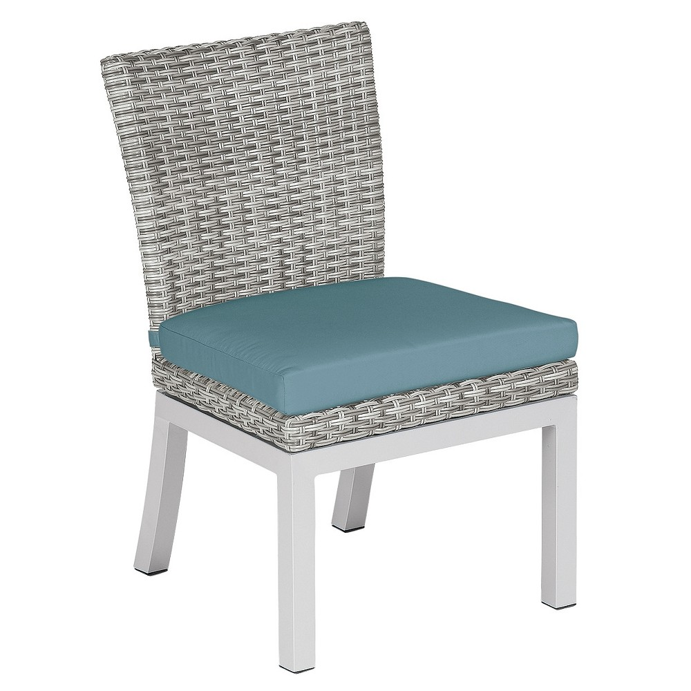 Travira Set of 2 Woven Patio Dining Chairs - Argento Resin Wicker - Powder Coated Aluminum Legs - Ice Blue Polyester Cushion - Oxford Garden, Ice Blue Cushions/Argento Wicker