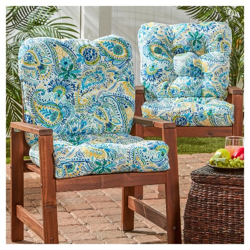 4a68e94b6ef Set of 2 Painted Paisley Outdoor Seat Back Chair Cushions - Greendale Home  Fashions
