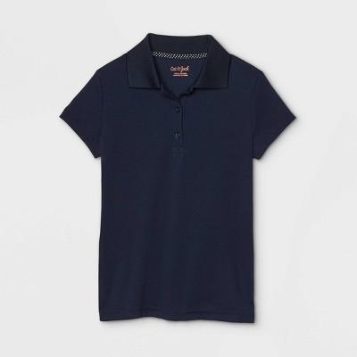 Girls' Short Sleeve Performance Uniform Polo Shirt - Cat & Jack™ Navy