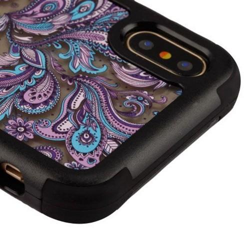 MYBAT For Apple iPhone X/XS Purple European Flowers Tuff Vivid Hard Hybrid Case Cover - image 1 of 2