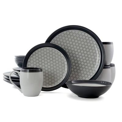 16pc Stoneware Pin Stripe Dinnerware Set Black/Gray - Elama