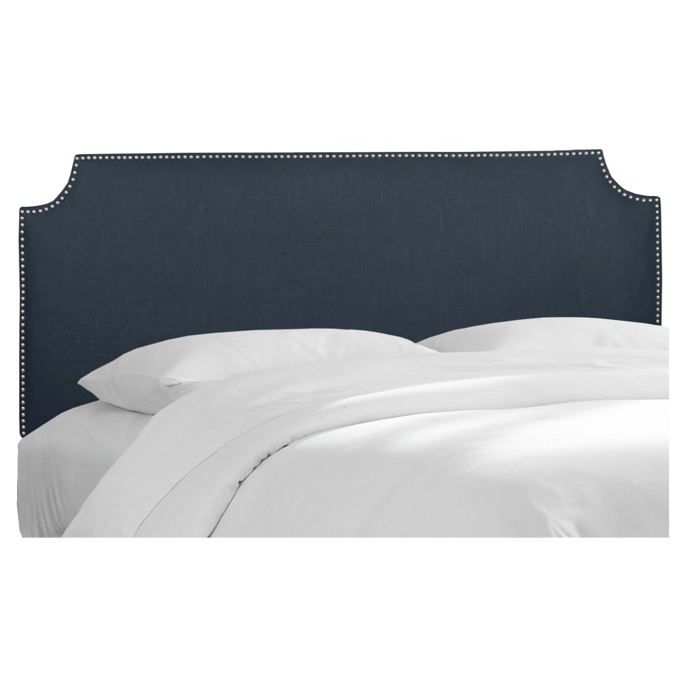 Full Lombard Nail Button Notched Headboard Navy Linen - Skyline Furniture