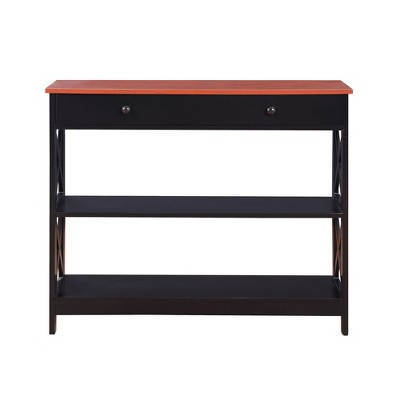 Oxford 1 Drawer Console Table Cherry/Black - Breighton Home