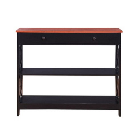 Oxford 1 Drawer Console Table Cherry/Black - Breighton Home - image 1 of 4