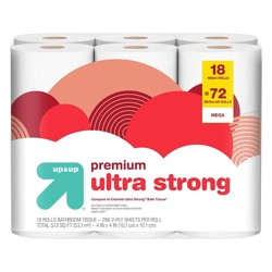 Premium Ultra Strong Toilet Paper - 18 Mega Rolls - Up&Up™