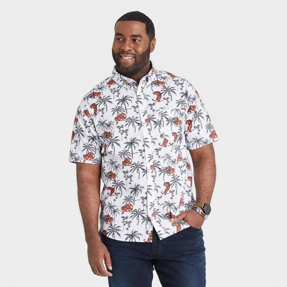 Men 39 S Big 38 Tall Animal Print Standard Fit Stretch Poplin Short Sleeve Button Down Shirt Goodfellow 38 Co 8482 Cotton White 3xbt