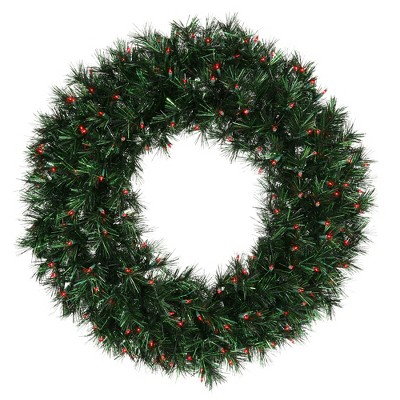"Vickerman 36"" Prelit Midnight Green Pine Christmas Tinsel Wreath - Red Dura Lights"