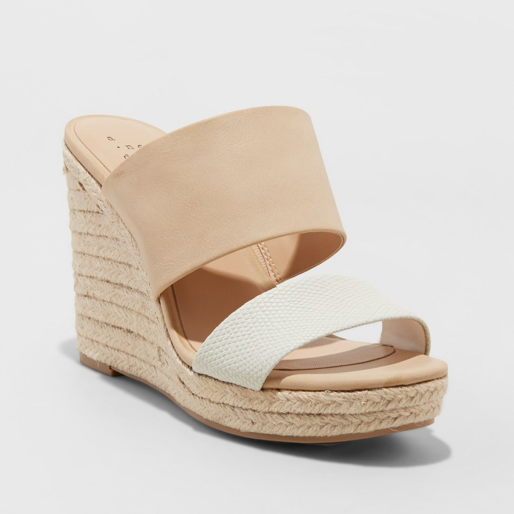 Image of Women's Adelina Two Band Espadrille Slide Sandals - A New Day Blush 10