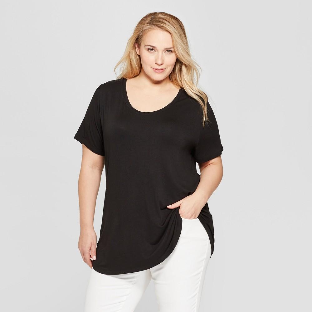 Women's Plus Size Short Sleeve Scoop Neck Relaxed T-Shirt - Ava & Viv Black 4X