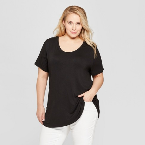 Women's Plus Size Short Sleeve Scoop Neck Relaxed T-Shirt - Ava & Viv™ - image 1 of 2