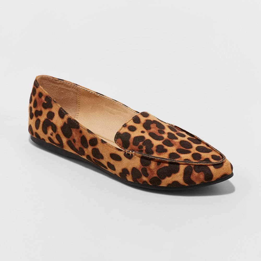 Women's Micah Pointy Toe Loafers - A New Day Leopard 8