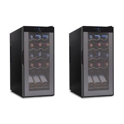 NutriChef Digital Electric 15 Bottle Adjustable Temperature Thermoelectric Freestanding Wine Chiller Cooler Cabinet Fridge, Black (2 Pack)